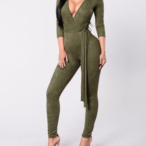 Fashion Nova suede army green jumpsuit.
